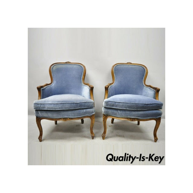 Vintage French Louis XV Provincial Blue Bergere Lounge Arm Chairs - a Pair For Sale - Image 13 of 13