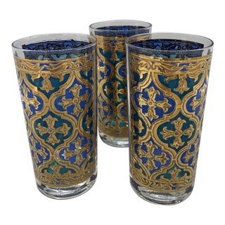 Georges Briard Firenza Blue Italian Renaissance Highballs - Set of 3 For Sale
