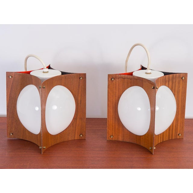 1960s Concave Mid-Century Globe Pendants- A Pair For Sale - Image 9 of 9