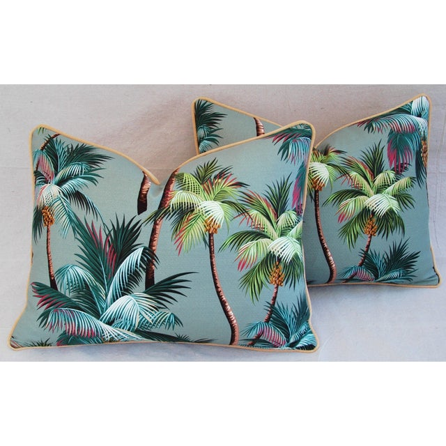 "Blue Oasis Palm Tree Barkcloth Feather/Down Pillows 24"" X 18"" - Pair For Sale - Image 8 of 11"