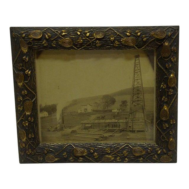 """Vintage Framed Black & White Photograph """"Old Oil Rig"""", 1880 For Sale"""