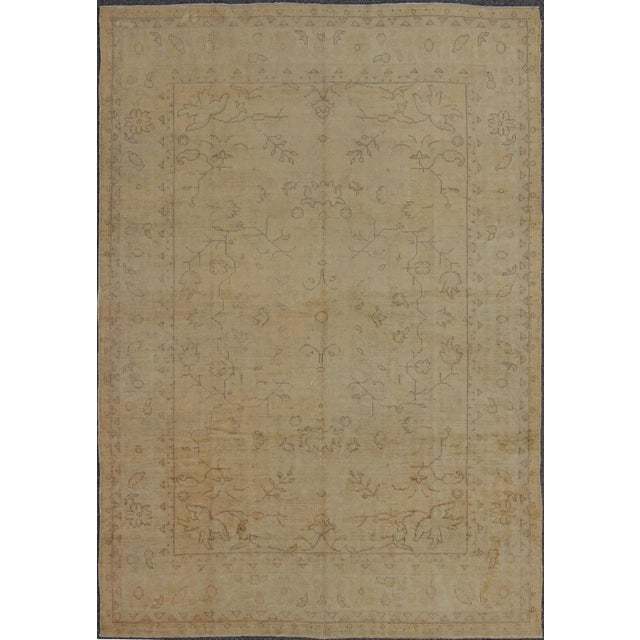 Early 20th Century Antique Turkish Oushak Rug - 9′5″ × 12′10″ For Sale - Image 9 of 9