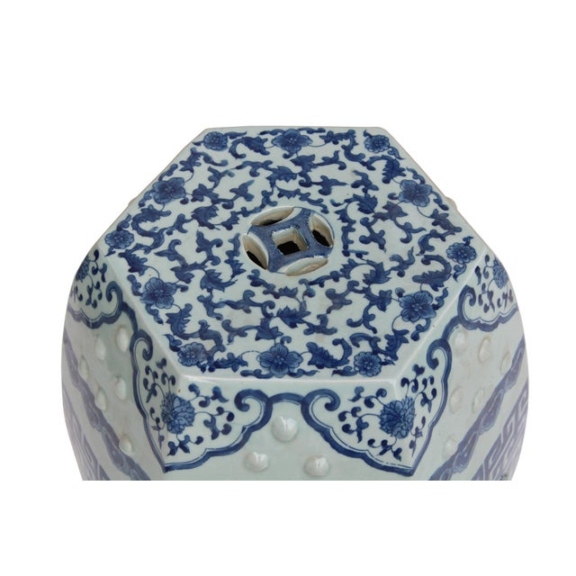 Chinese Blue & White Porcelain Scenery Hexagon Pattern Stool Table For Sale - Image 5 of 7