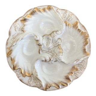 1890s French C H. Field Haviland Limoges Lady's Oyster Plate For Sale