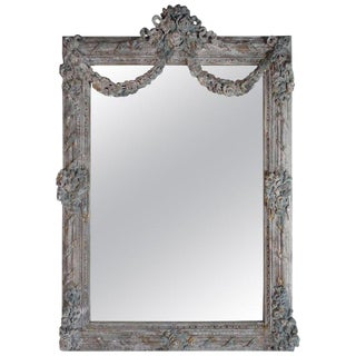 French Louis XV Rococo Style Painted Mirror With Garlands For Sale