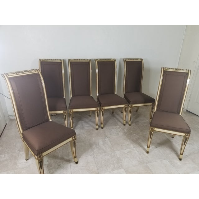 Set of 6 dining chairs, Hollywood Regency style, good condition Finish is original and it was touched up and refurbished...