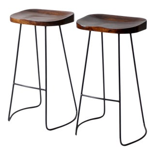 Vintage Hairpin Leg Stools Pair For Sale