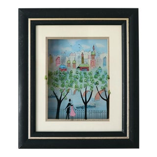 1990s Mid-Century Modern Scenic Cityscape 3-D Vitreography Painting by Jean Pierre Weill For Sale