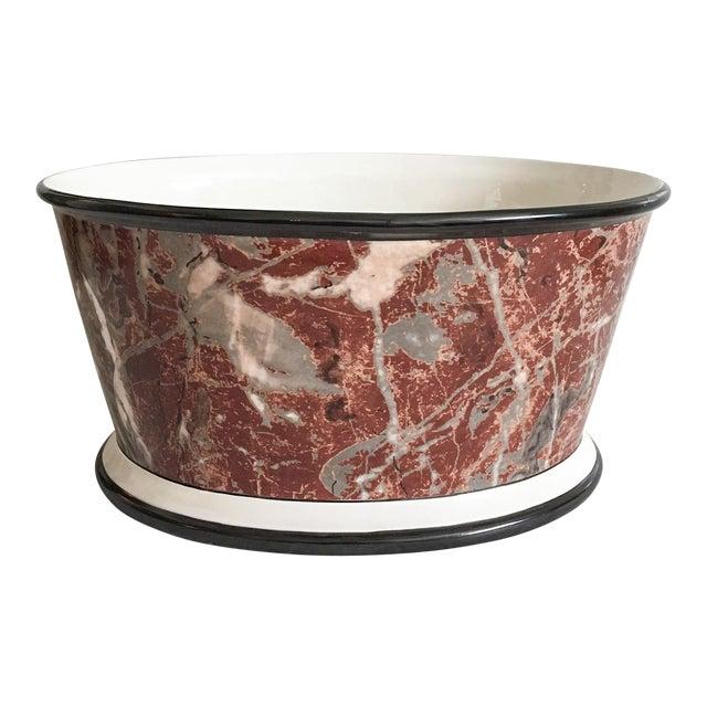 Large Italian Marbleized Ceramic Jardinere Planter - Image 1 of 9