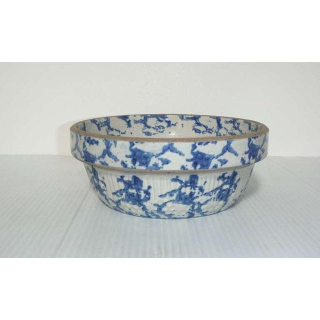 This heavy sponge ware pottery bowl has the sponge design on both the inside rim and outside of the bowl. This type of...
