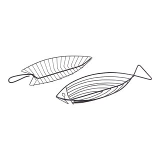 Pair of Fish Bowls in Wire For Sale