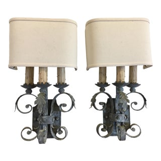 Vintage Rustic French Country Inspired Handmade Pewter Sconces – a Pair For Sale