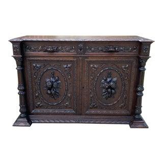 Antique French Renaissance Carved Oak Sideboard For Sale