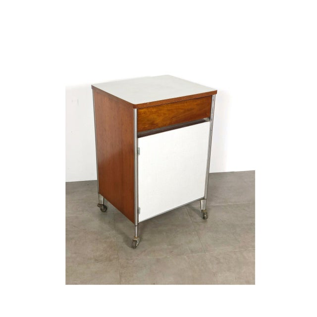 1950s Raymond Loewy Hill-Rom Walnut & White Laminate Rolling Cabinet For Sale - Image 10 of 10
