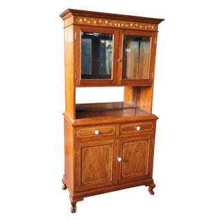 20th Century Traditional Mahogany Marquetry Inlay China Hutch Mirrored Ball & Claw Foot For Sale
