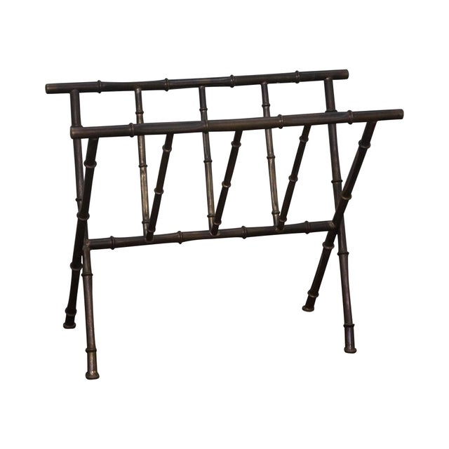 Hollywood Regency Faux Bamboo Brass Magazine Stand - Image 1 of 10