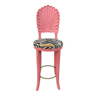 Pink Shell Motif Zebra Upholstery Chair Stool For Sale