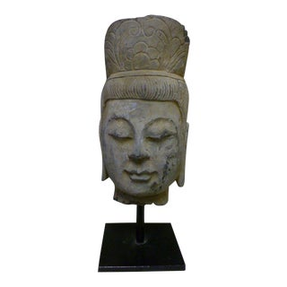19th Century Asian Hand Carved Stone Buddha Head For Sale