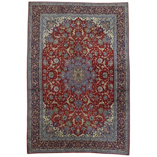 Vintage Persian Isfahan Rug with Shah Abba Design