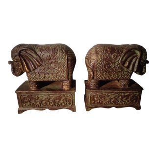 Vintage Cast Iron Elephant Bookends - a Pair For Sale