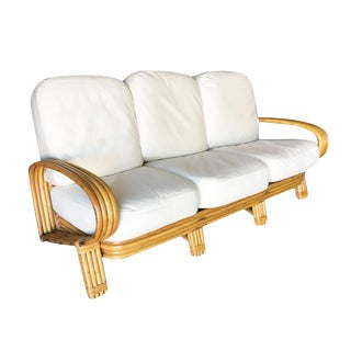 "Restored ""R"" Arm 3 Seat Sofa With Quad Pole Rattan Design For Sale"