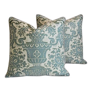"Italian Mariano Fortuny Carnavalet Feather/Down Pillows 23"" Square - Pair"