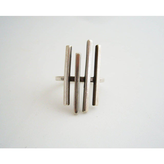 Betty Cooke Sterling Silver Minimalist Sticks Ring For Sale - Image 4 of 4