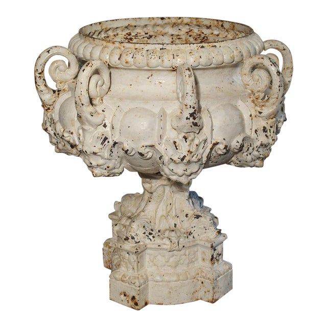 19th Century 8-Spout Painted Cast Iron Fountain Element From France For Sale