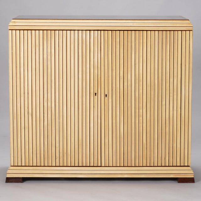 Reeded Maple Cabinet with Rosewood Trim and Black Glass For Sale - Image 13 of 13