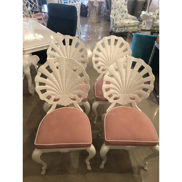 Pink Vintage Brown Jordan Grotto Shell Back White Powdercoated Patio Chairs and Table -Set of 5 For Sale - Image 8 of 13