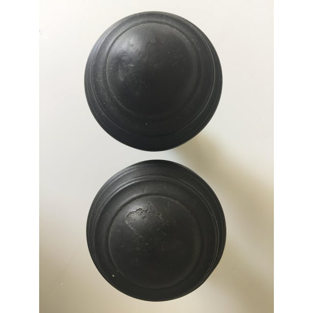 Antique Patinated Copper Ball Finials - a Pair For Sale - Image 4 of 7
