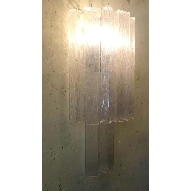 Metal Italian Murano Glass Tubes Sconces - a Pair For Sale - Image 7 of 12