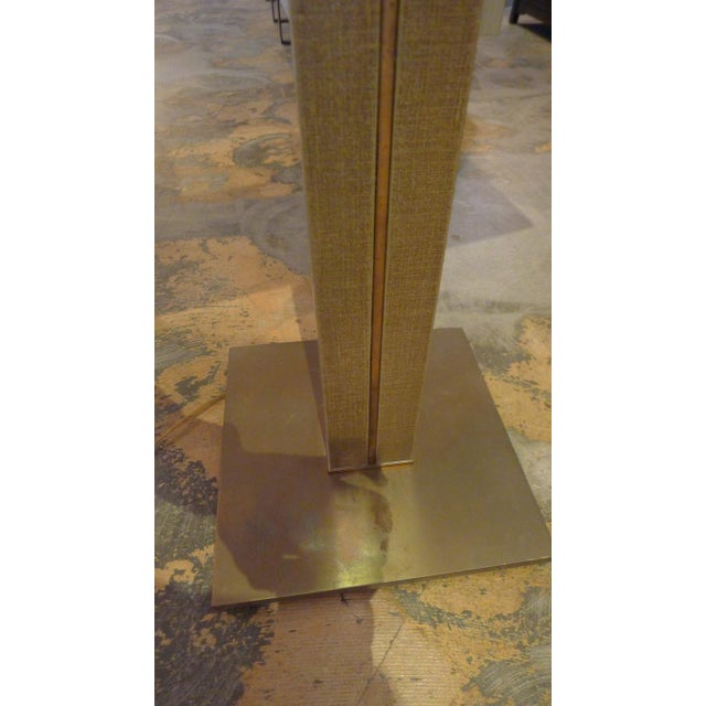 Karl Springer 1970s Karl Springer Linen and Brass Floor Lamp For Sale - Image 4 of 6