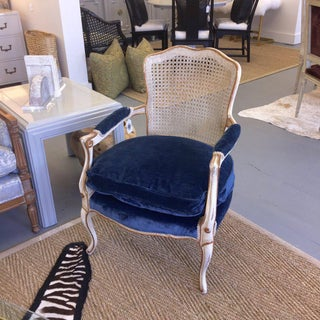 Mid-Century French Painted Louis XVI Style Caned Back Chair Preview