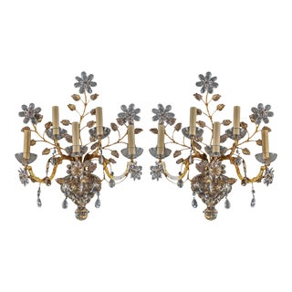 1930s French Five-Light Crystal Sconces - a Pair For Sale
