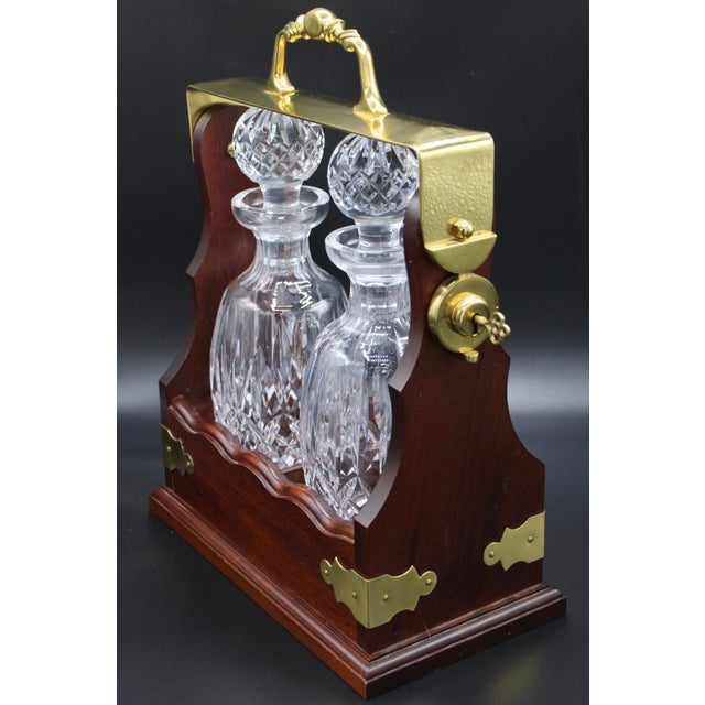 Art Deco Large Irish Crystal Decanters in Walnut Tantalus by John Connolly of Waterford For Sale - Image 3 of 9