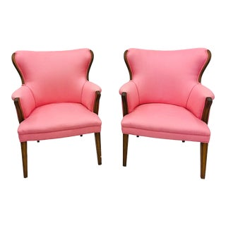 Pair Vintage Mid Century Modern Arm Chairs With Pink Upholstery For Sale