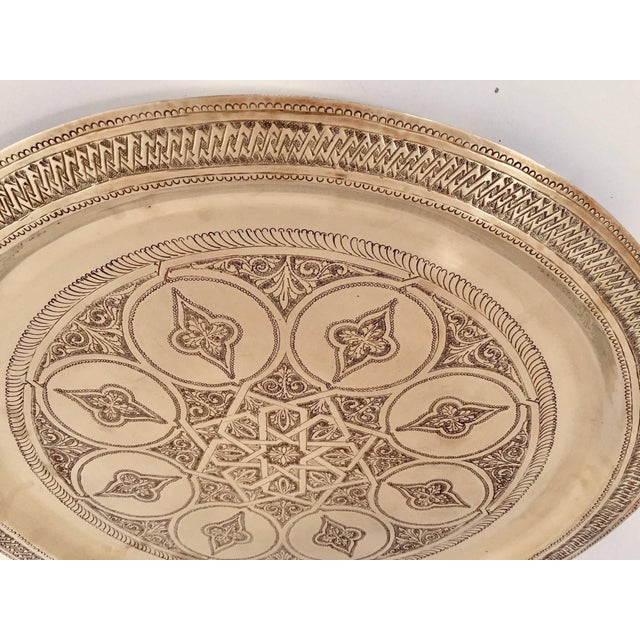 Moroccan Polished Round Brass Tray For Sale - Image 12 of 13
