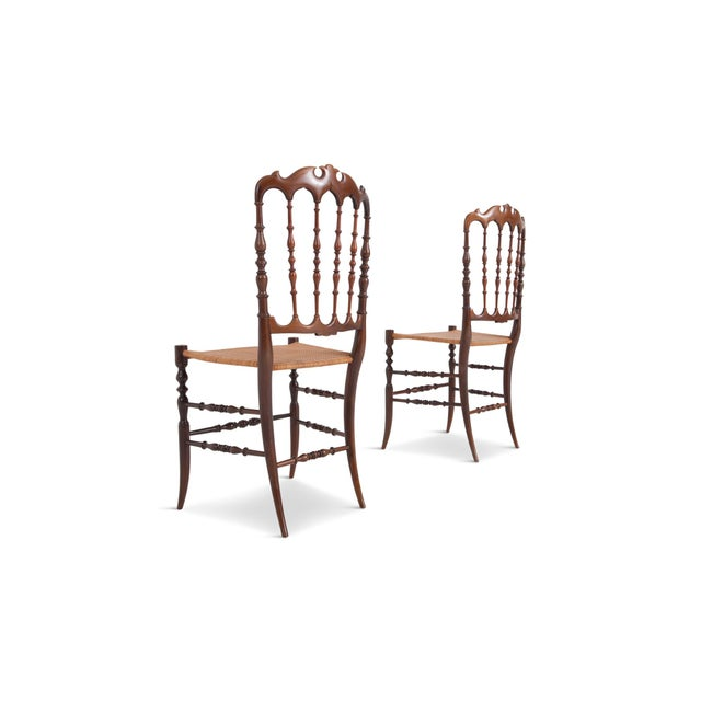 Chiavari Cherrywood & Wicker Dining Chairs After Giuseppe Gaetano Descales For Sale - Image 6 of 12
