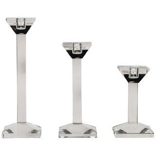 Set of 3 Crystal Candlesticks by Oleg Cassini For Sale