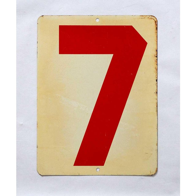 Industrial Vintage Mid Century Number 7 Gas Station Sign For Sale - Image 3 of 3