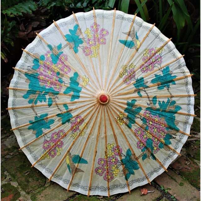 Vintage Asian Rice Paper Floral Umbrella - Image 3 of 10