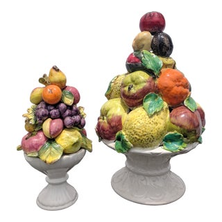 Set of 2- Majolica Capodimonte Fruit Topiaries For Sale