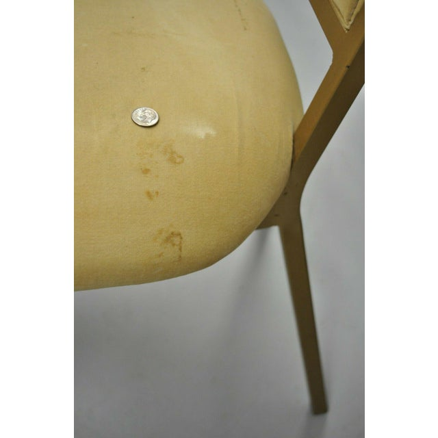 Yellow Vintage Kessler French Hollywood Regency Style Cast Metal Tall Back Side Chair For Sale - Image 8 of 12