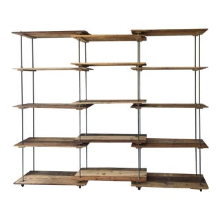 Large Pallet Wood and Steel Rod Book Shelf Unit For Sale