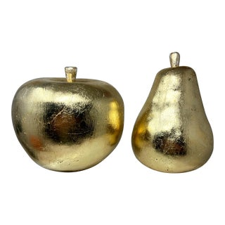 Vintage Oversized Distressed Gold Leaf Hand Painted Heavy Ceramic Gilded Apple & Pear – a Pair For Sale