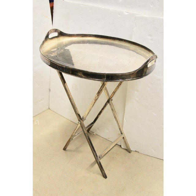 English Silver-Plated Folding Tray Table For Sale - Image 3 of 9
