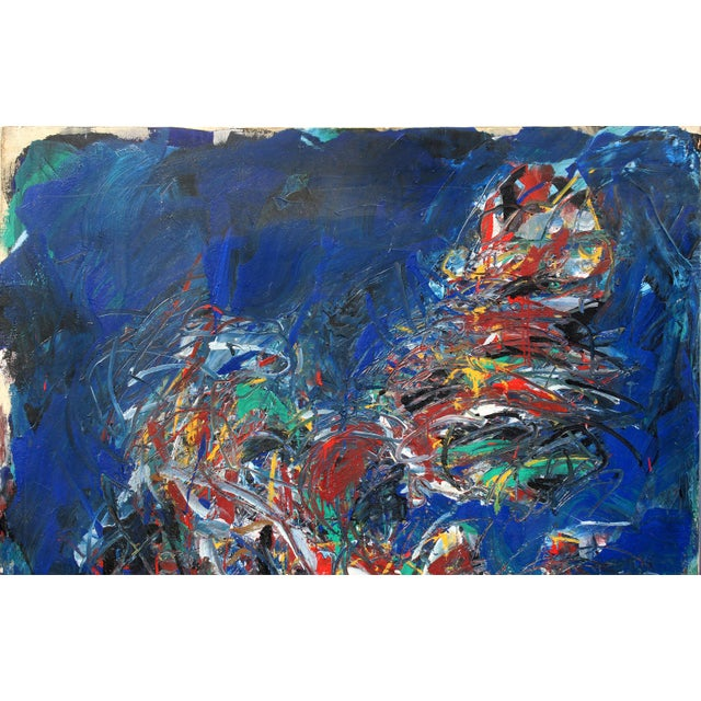 """Abstract Monumental Abstract Oil on Canvas Titled """"Figure"""" Signed Dehais, Dated 1984 For Sale - Image 3 of 8"""
