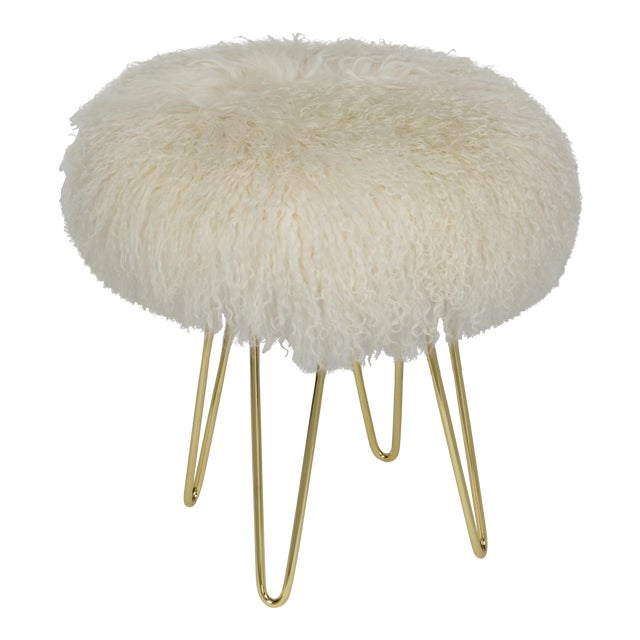 Warm White Curly Hairpin Brass Stool For Sale