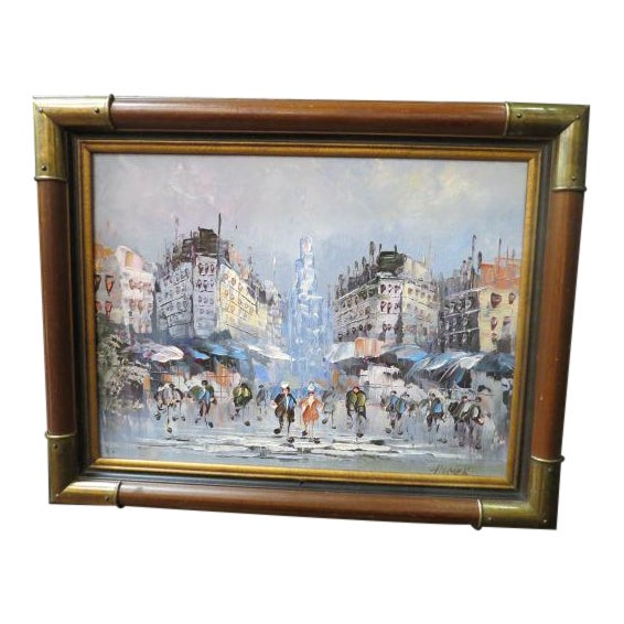 1990s Impressionist Inspired French Street Scene Oil Painting For Sale
